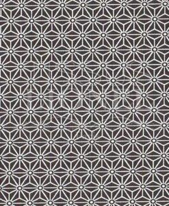 Tissu coton imprimé motif cube géométrique noir