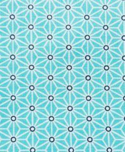 Tissu coton imprimé motif cube géométrique turquoise