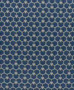 Tissu coton imprimé motif fradji bleu