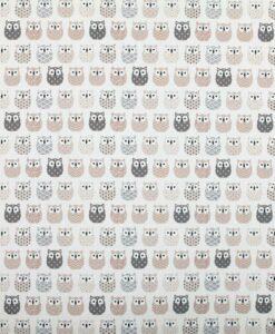 Tissu coton imprimé motif hiboux ivoire