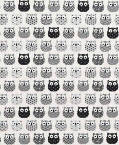 Tissu coton imprimé motif hiboux noir et blanc