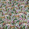 Tissu coton imprimé motif jungle vert amande