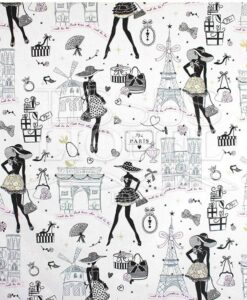 Tela de algodón con motivo del pequeño vestido negro blanco de París