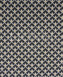 Tissu coton imprimé motif paon fond noir