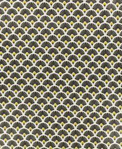 Tissu coton imprimé motif paon noir