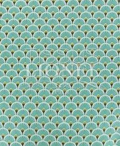 Tissu coton imprimé motif paon turquoise