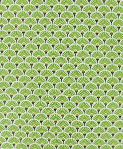 Tissu coton imprimé motif paon vert