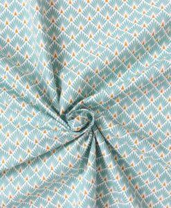 Tissu coton imprimé motif paon vert gris