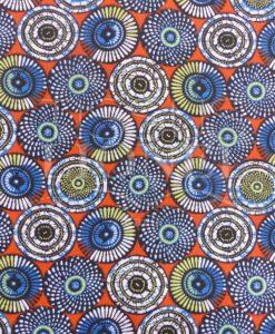 Tissu coton imprimé motif soweto orange