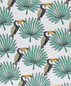 Tissu coton imprimé motif toucan fond blanc