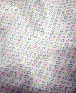 Tissu coton étoile multicolors