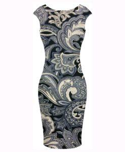 Tissu coton imprimé Paisley noir et blanc