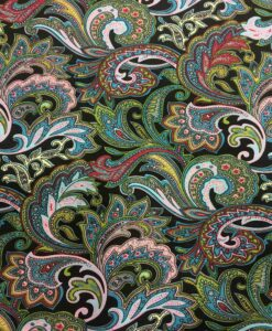 Tissu coton imprimé Paisley sur fond noir