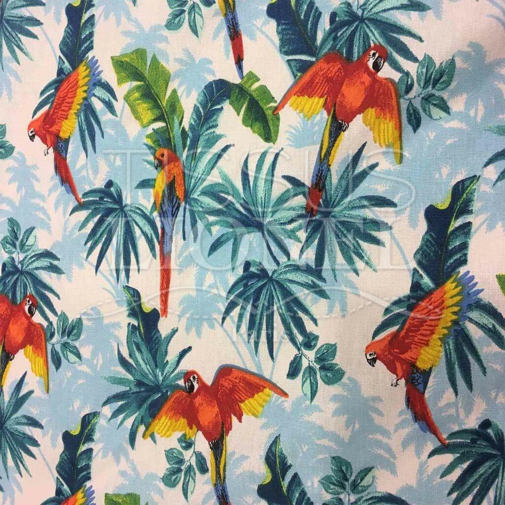 Baumwollgewebe gedruckt Papageien auf weißen Hintergrund