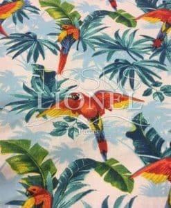 Tissu coton imprimé perroquet sur fond blanc