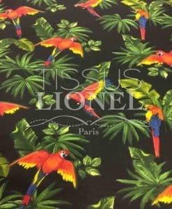 Tissu coton imprimé perroquet sur fond noir 2