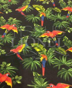 Baumwolle gedruckt Papageien auf schwarzem Stoff