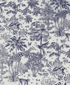 Tissu coton imprimé tropical marine et blanc