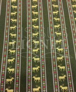 Tissu coton kaki motif imprimé cerf