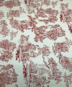 Хлопчатобумажная ткань milleraies toile de jouy красный