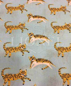 Tissu coton motif chat bleu clair