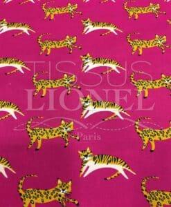 Tissu coton motif chat fuschia