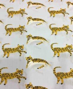 Tissu coton motif chat gris clair