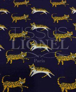 Tissu coton motif chat violet foncé