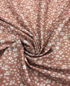 Tissu coton motif fleuris brique