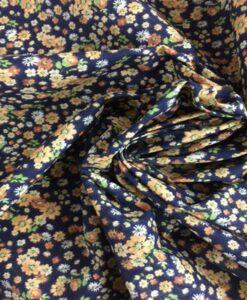 Tissu coton motif fleuris marine