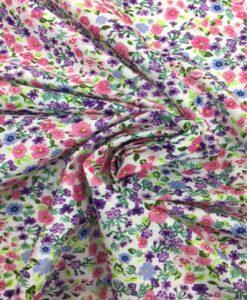 Tissu coton motif fleuris multicolors