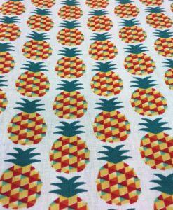 Tissu coton motif imprimé ananas multicolors