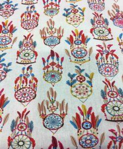 Tissu coton motif imprimé attrape rêve blanc