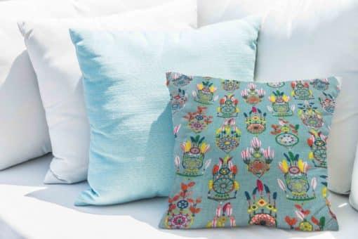 Tissu coton motif imprimé attrape rêve bleu