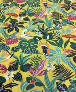 Katoenen stof gedrukt patroon geel Caribbean