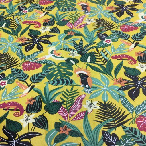 Tissu coton motif imprimé caraïbe jaune