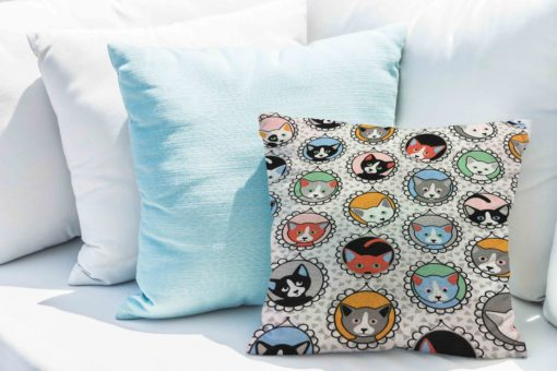 Tissu coton motif imprimé chat gris clair
