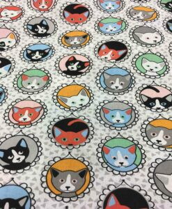 patroon gedrukt katoen grijze kat