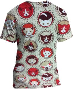 pattern printed cotton fabric red cat
