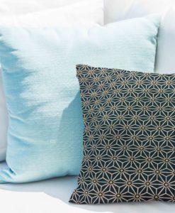 Tissu coton motif imprimé cube géométriques bleu nuit