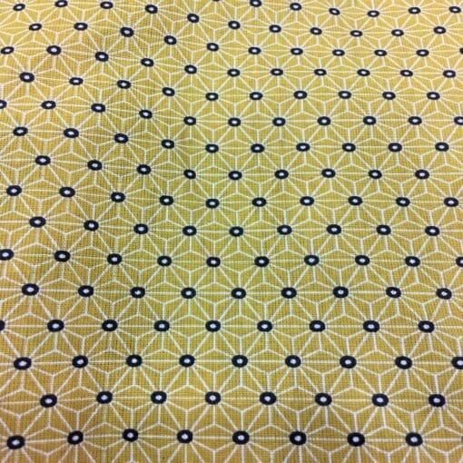 Tissu coton motif imprimé cube géométriques jaune