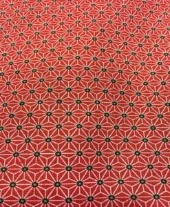 Tissu coton motif imprimé cube géométriques rouge