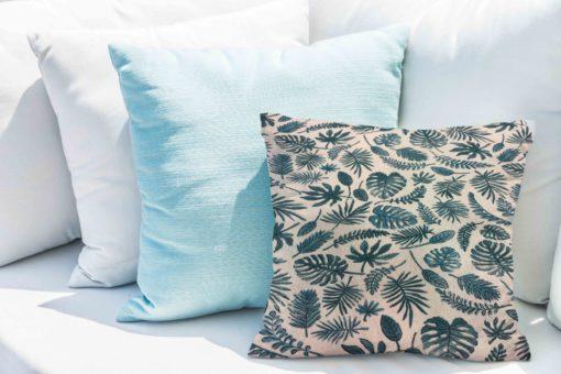 Tissu coton motif imprimé feuilles exotiques beige