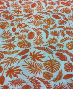 Tissu coton motif imprimé feuilles exotiques bleu ciel