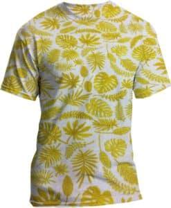 Tissu coton motif imprimé feuilles exotiques jaune