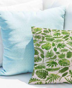 Tissu coton motif imprimé feuilles exotiques verte