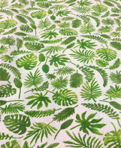 Cotton fabric printed pattern green exotic leaf