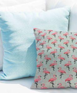 Tissu coton motif imprimé flamant rose gris clair