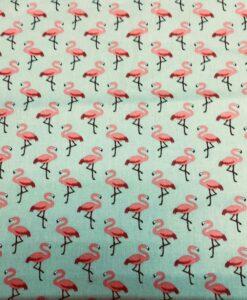 Хлопчатобумажные ткани набивным рисунком фламинго розовый зеленый