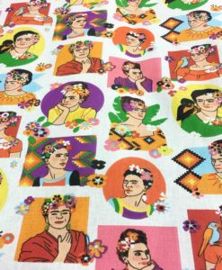 Cotton fabric printed pattern Frida Kahlo